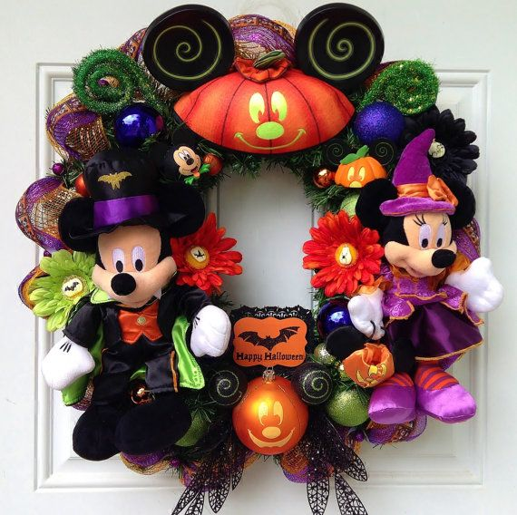 Halloween Minnie Mickey Mouse Wreath -RESERVED FOR SAVANNAH Mickey