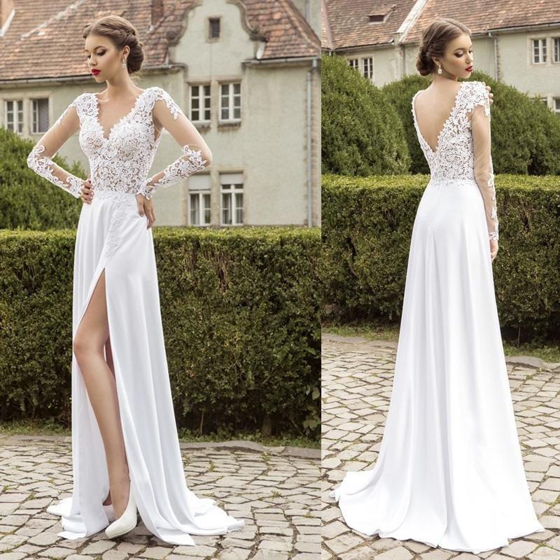 Beach Wedding Dress 2013 Flowing Summer Dresses Greek: High Slit Beach Wedding Dresses 2015 V Neck Deep V Back