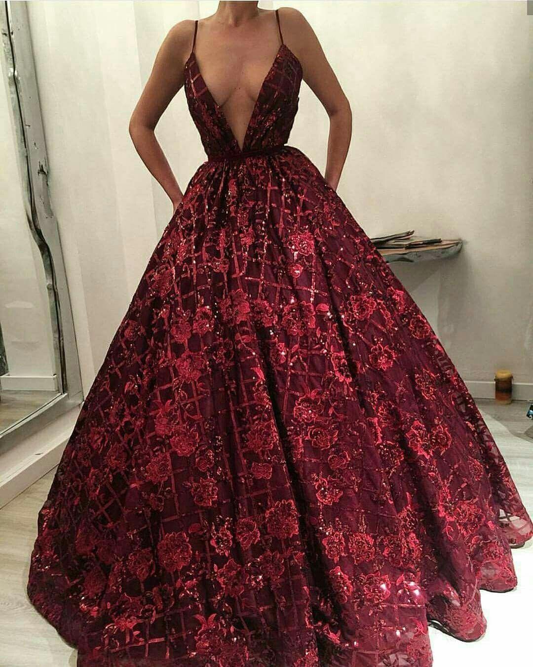 Aline deep vneck floorlength dark red lace prom dress with