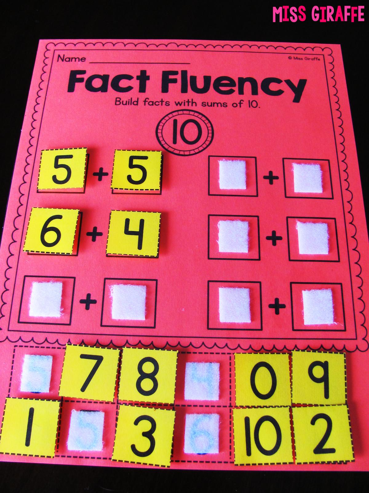 Miss Giraffe S Class Fact Fluency In First Grade