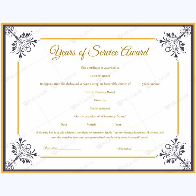 Years Of Service Award 03 Word Layouts Certificate Of Participation Template Certificate Of Appreciation Awards Certificates Template