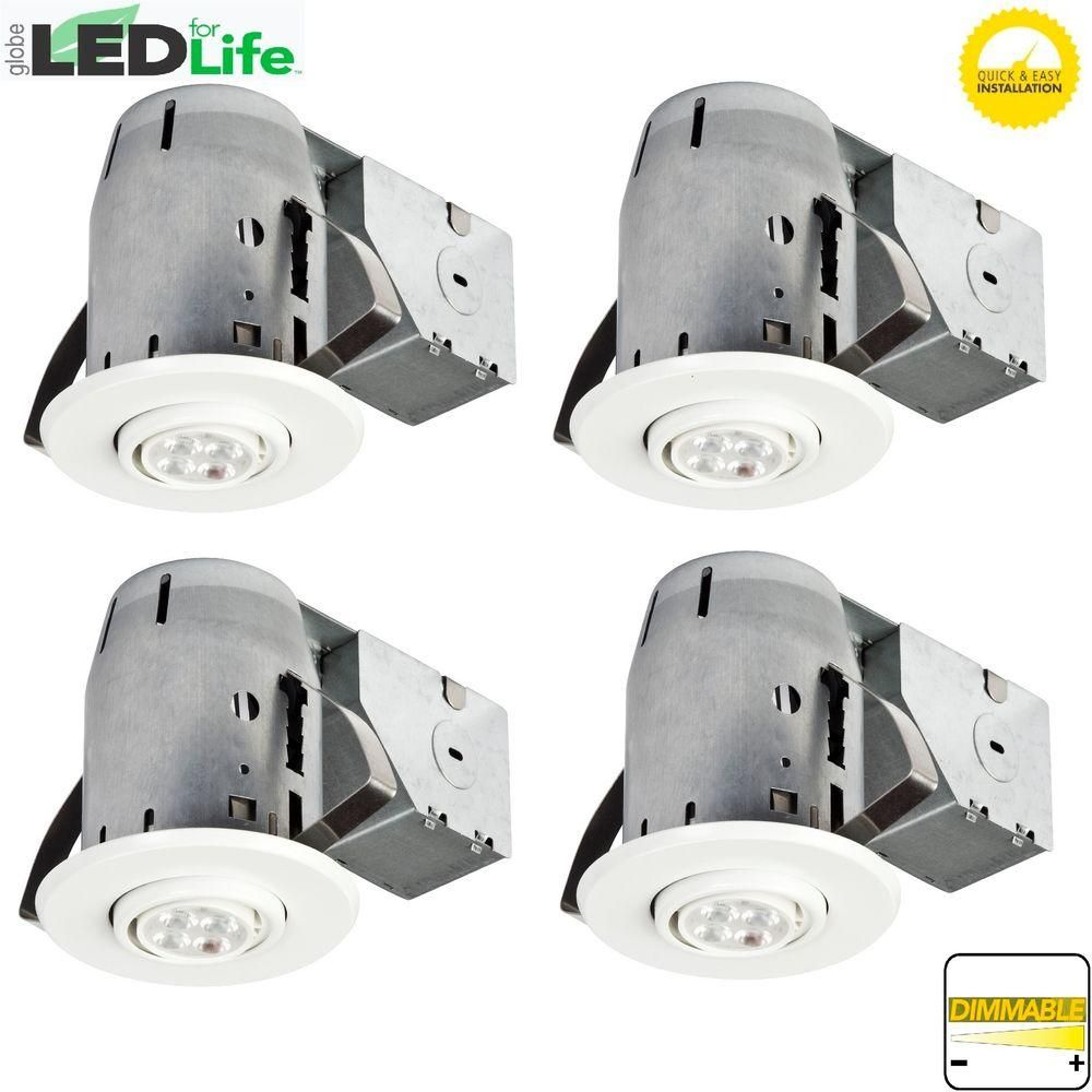 White Led Ic Rated Swivel Spotlight Recessed Lighting Kit Dimmable Downlight 4 Pack