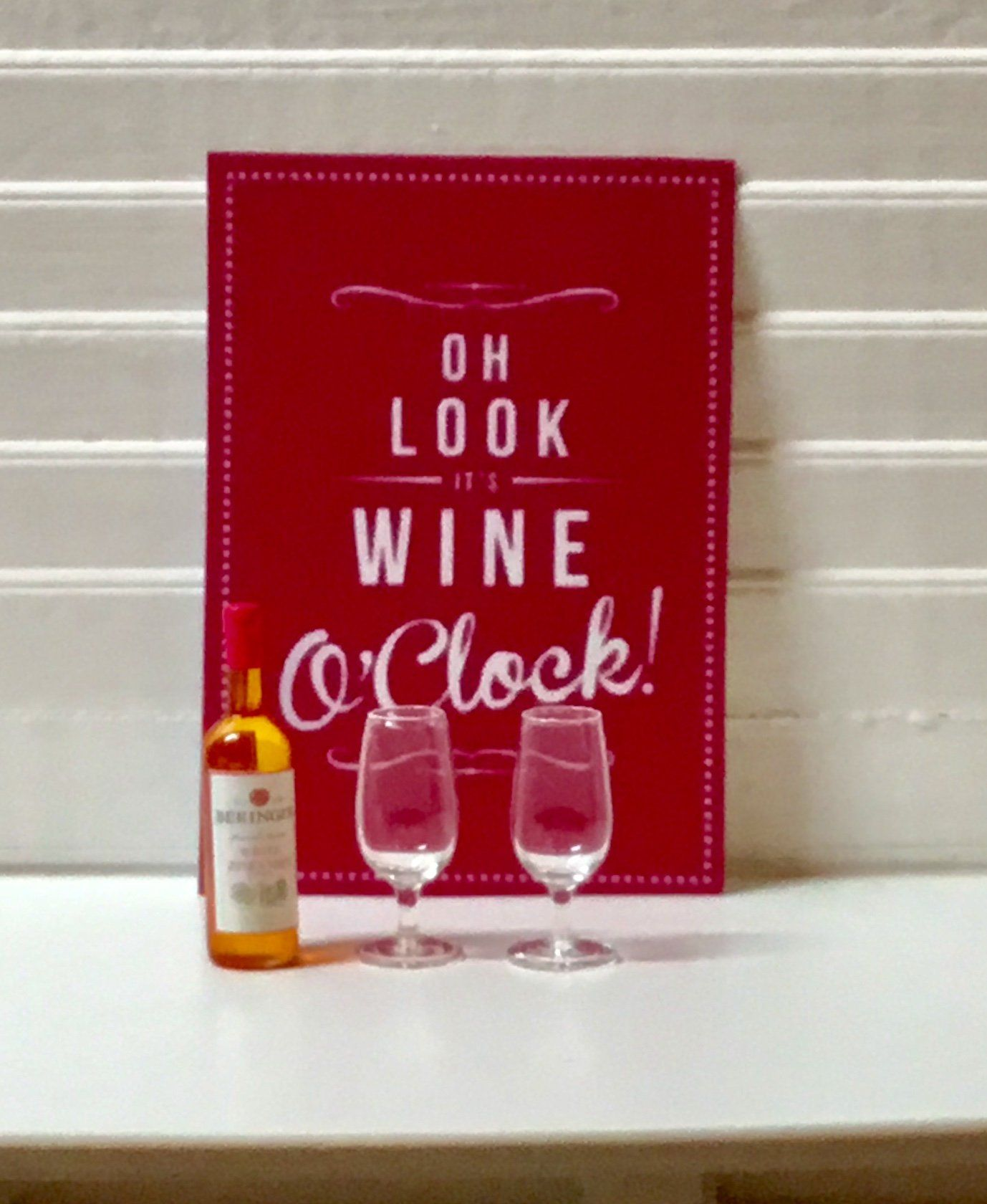 Dollhouse Miniature Bottle Of White Zinfandel Wine And Two Wine Glasses Or Wine Sign 1 12 Scale By Minifuntimes Wine Signs Miniature Bottles White Zinfandel