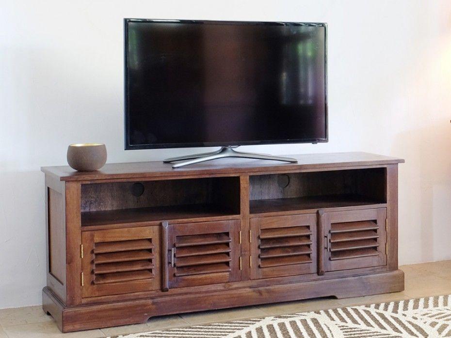 Meuble TV BALI 2 niches   4 portes Teck massif   Vente Unique ... d7a4984b42d4
