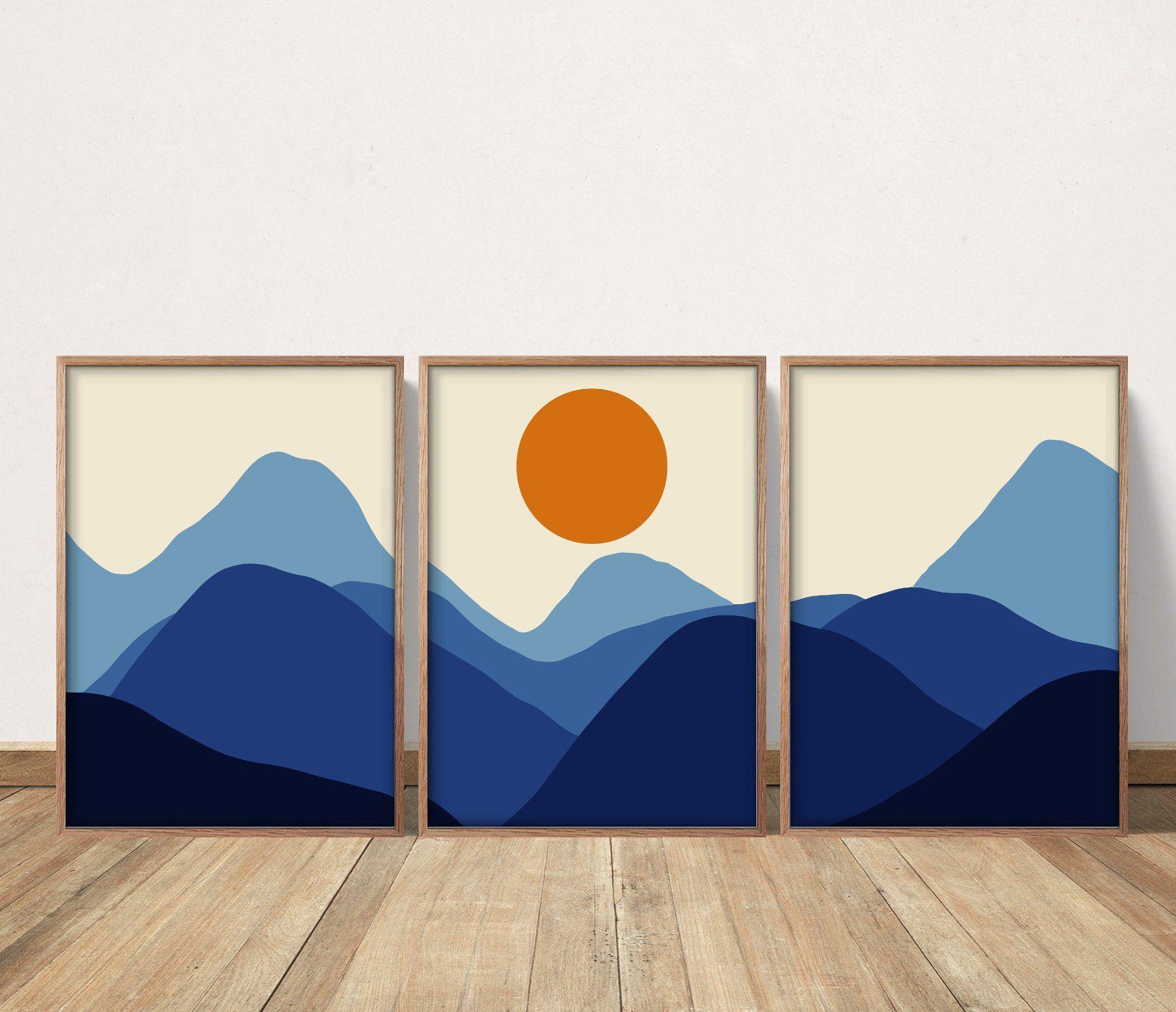 Abstract Wall Art Prints Set of 3 Modern Home Decor Mountain Scenery Geometric