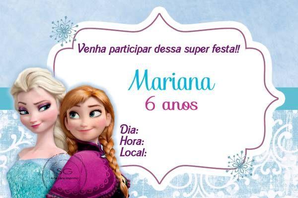 Pin De Aline Vergara Em Convites Convites Frozen Convite