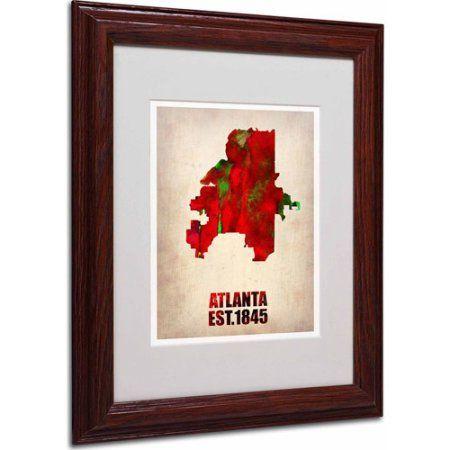 Trademark Fine Art Atlanta Watercolor Map Matted Framed Art by ...