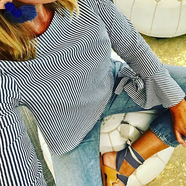 """""""Had to go with long sleeves today,"""" - Rachel, @rachel_suter1, sharing her San Francisco summer look (hint, hint: it's cold in SF!)⠀  ⠀  Show us the last of your summer style this long weekend with #pinstyle.⠀"""