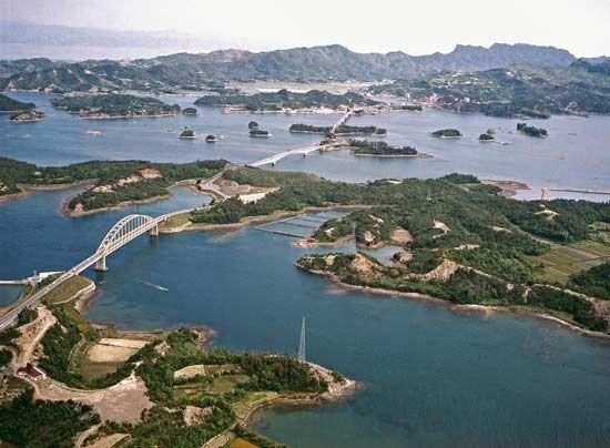 Amakusa, Japan - water, bridges and islands.