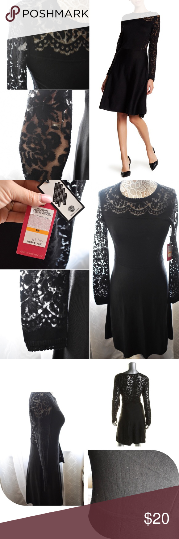 New vince camuto black long sleeve lace dress nwt vince