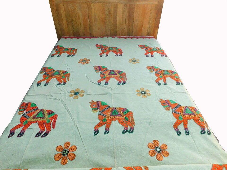 Applique Indian Horse Bedspread Patchwork Blanket Kantha Throw Coverlet DS16