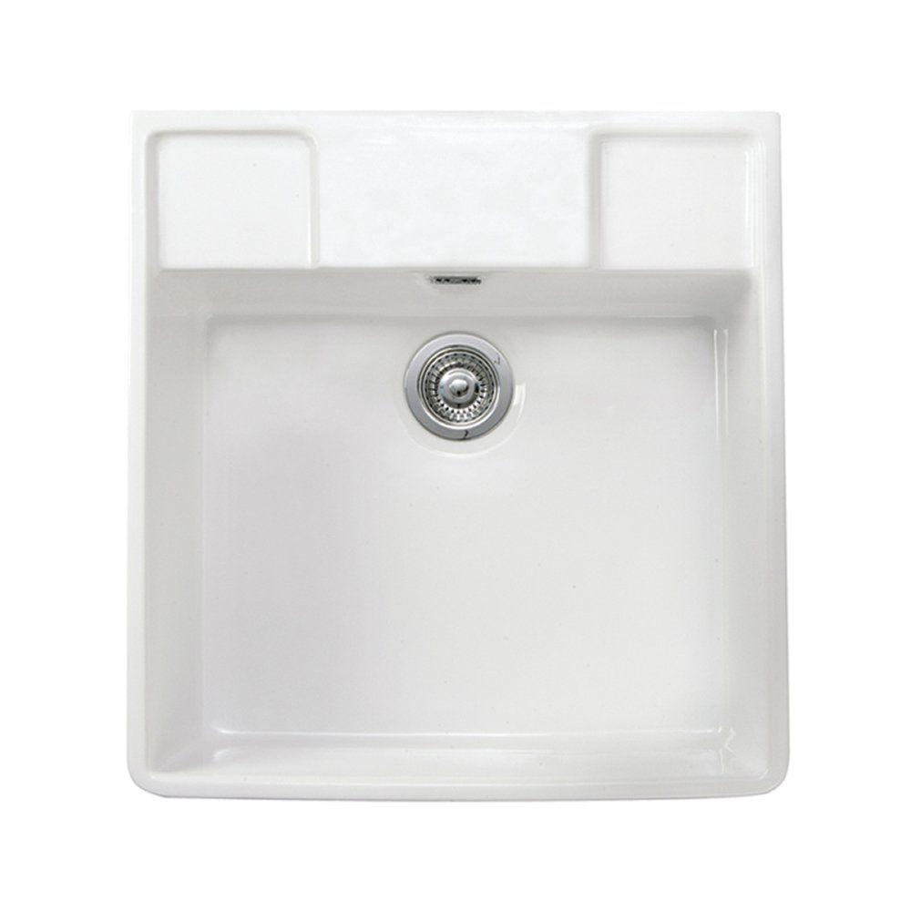 Astini Belfast 590 1 0 Bowl White Ceramic Kitchen Sink Waste