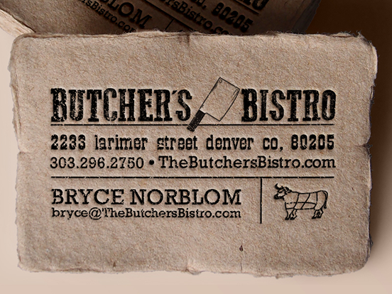 Butchers bistro business card stationary pinterest business art direction on business cards for butchers bistro restaurant in denver colorado project created with venessa bates colourmoves Choice Image