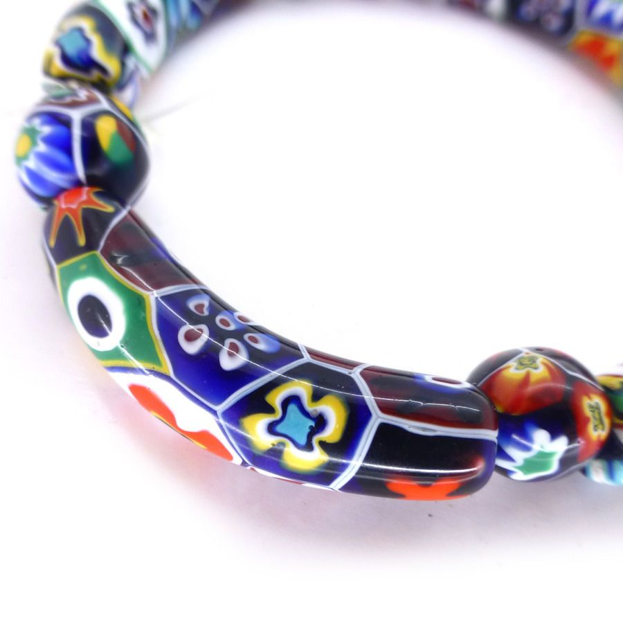 vintage venetian murano moretti millefiori glass curved bead beads bracelet