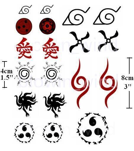 Anime Cosplay Tattoo Uzumaki Naruto Kurama Seal Kakashi Gaara Curse