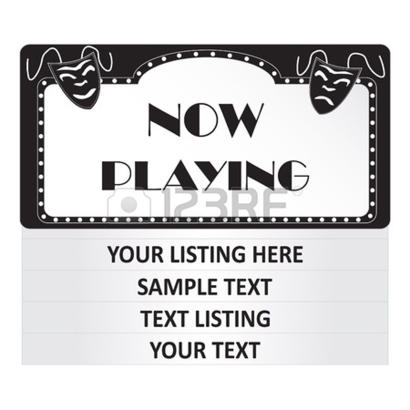 Image of a now playing cinema sign isolated on a white