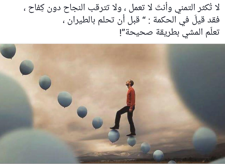 """لا تكثر التمني وأنت لا تعمل، ولا تترقب النجاح دون كفاح، فقد قيل في الحكمة: """"قبل أن تحلم بالطيران، تعلم المشي بطريقة صحيحة!"""""""