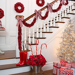 Candy Cane Decorations Candy Striped Stairway Decor Idea Nbnb  Christmasmantels
