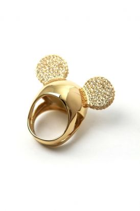 disney couture jewelry - minnie x mawi: encrusted minnie ears ring (gold/crystal)