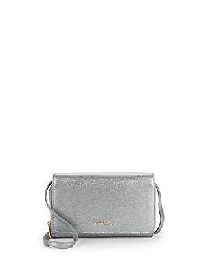 Furla Textured Leather Convertible Wallet - Silver - Size No Size