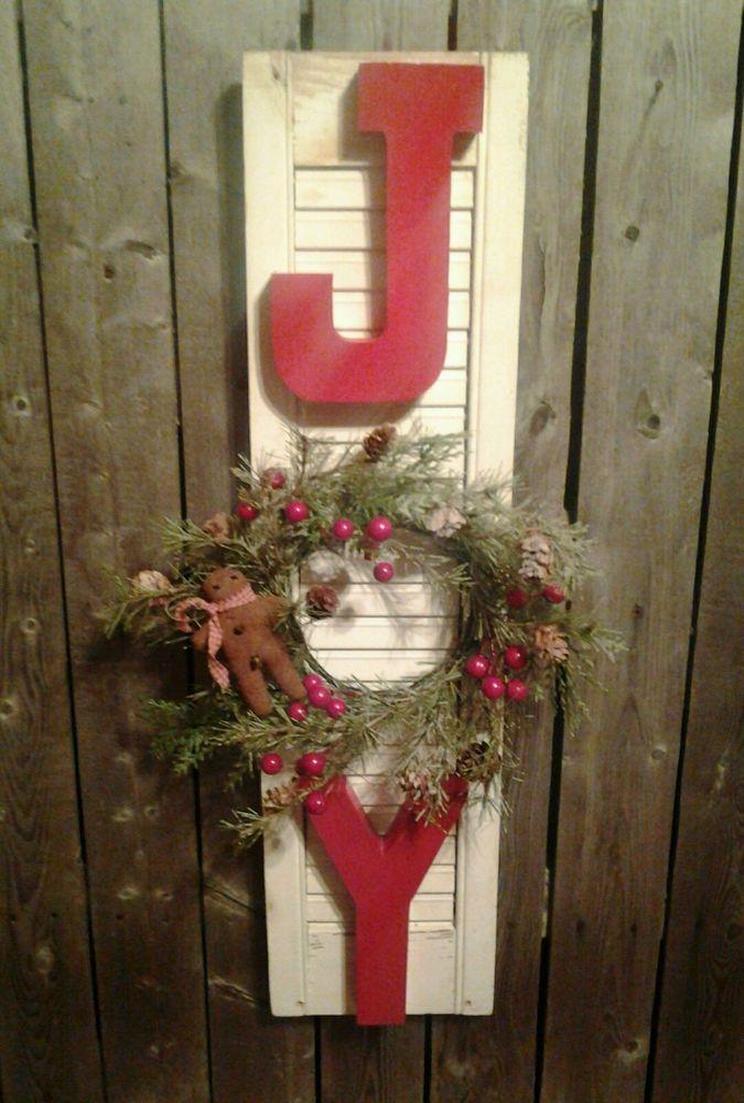 Primitive Christmas Joy Sign Old Shutter Holiday Wreath