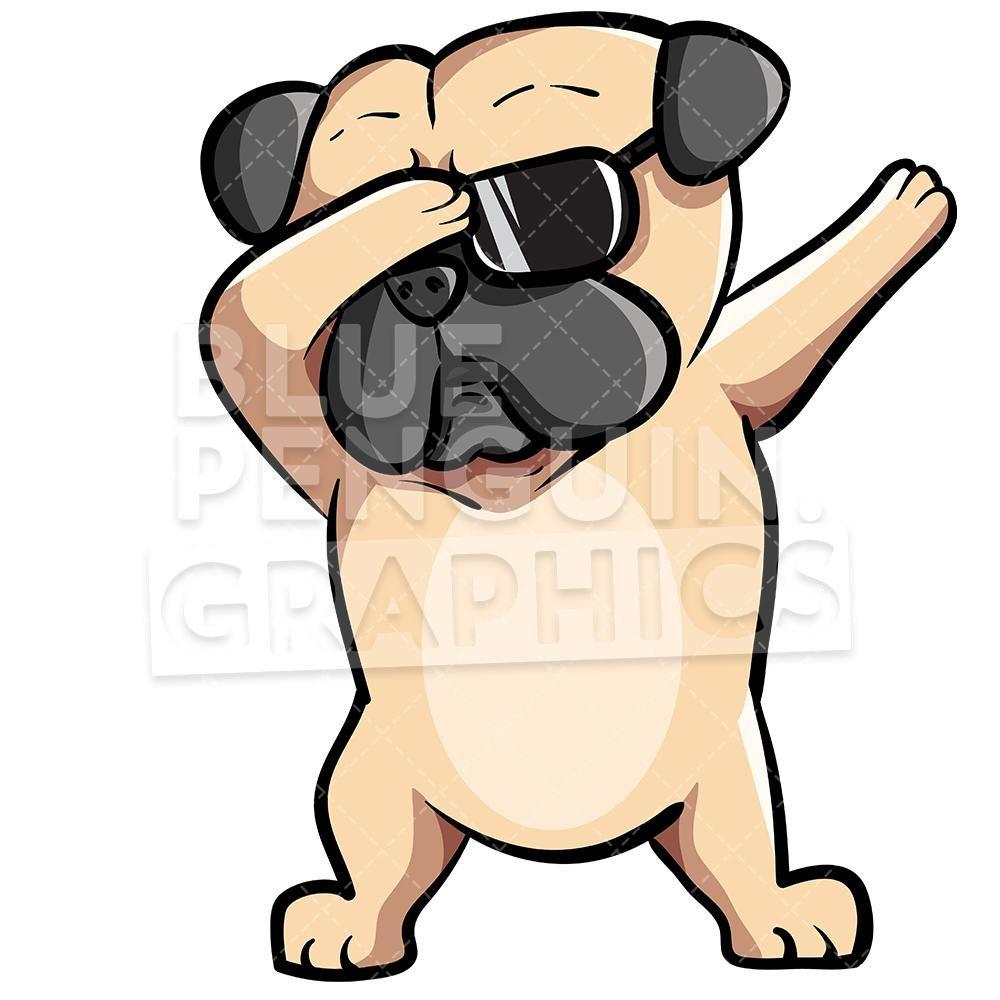 Pug Dog Dabbing Vector Cartoon Clipart Illustration In 2020 Pug