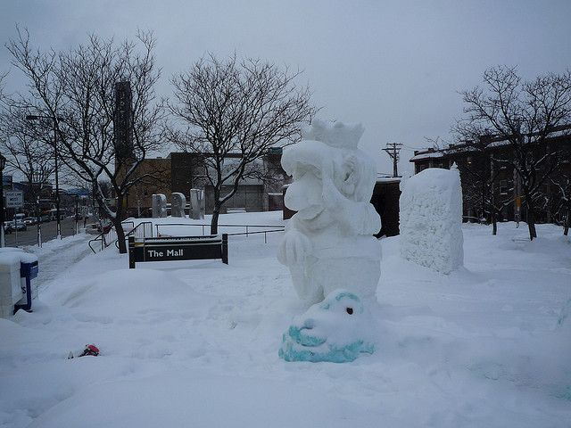 """2010 """"Where the Wild Things Are"""" Snow Sculpture near the Walker Library in Uptown, Mpls., MN."""