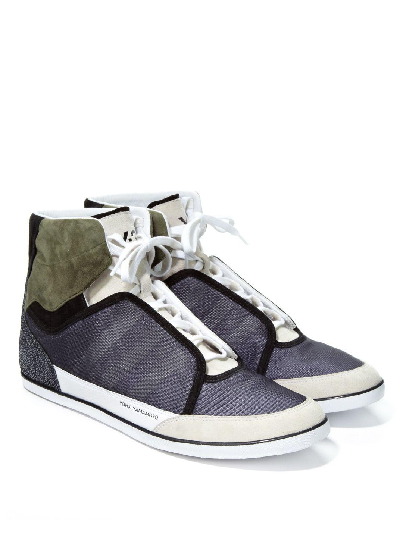 66b4b35027af7 Adidas Y-3 Honja High Top Mixed Media Sneakers (w faux stingray on heel)