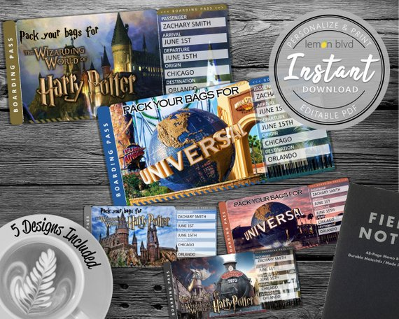 Surprise Universal Harry Potter Trip Ticket Vacation Tickets Instant Download Boarding P Surprise Trip Reveal Universal Studios Tickets Harry Potter Ticket