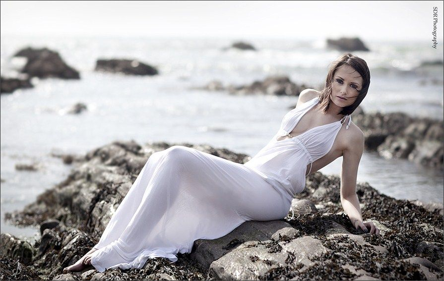 White Goddess Dress Backlit. Possibly Wet. No Underwear