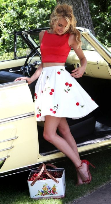 Cropped Satin Top + Cherry Skirt
