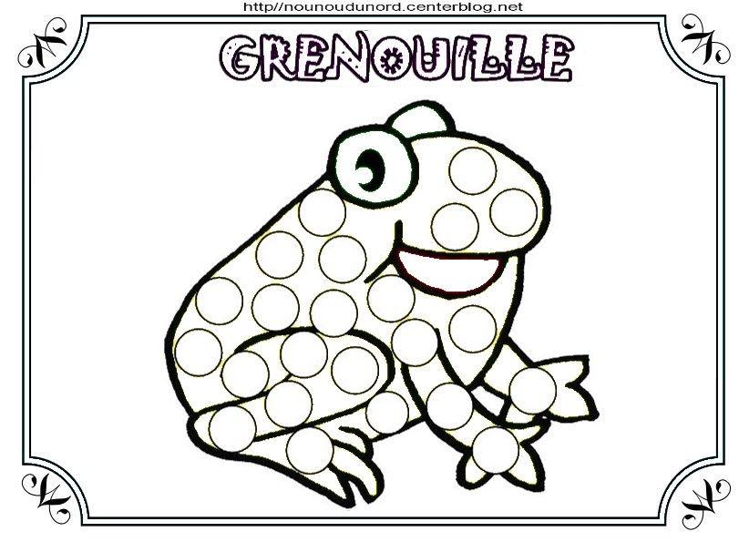 Coloriage grenouille et a gommettes flocons de ma s - Coloriage de grenouille ...