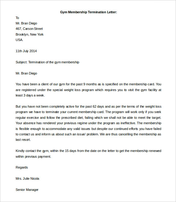 Termination Letter Template 14+ Free Word, Excel & PDF