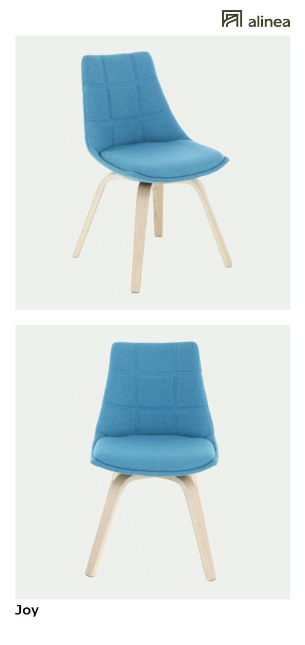 Alinea Joy Chaise Bleue Turquoise Avec Pietement Chene Design