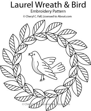 Jump Into Redwork With These 9 Embroidery Patterns Wreaths Bird
