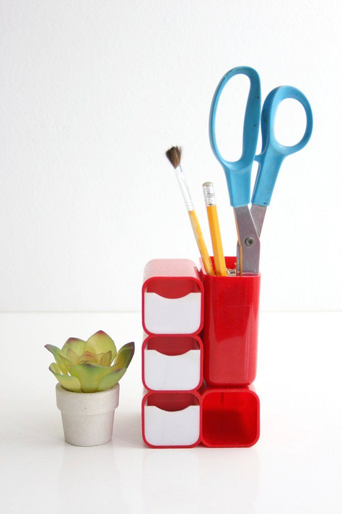This Fantastic Mod Red Desk Organizer Is So Bright And Fun Made Of A Sy