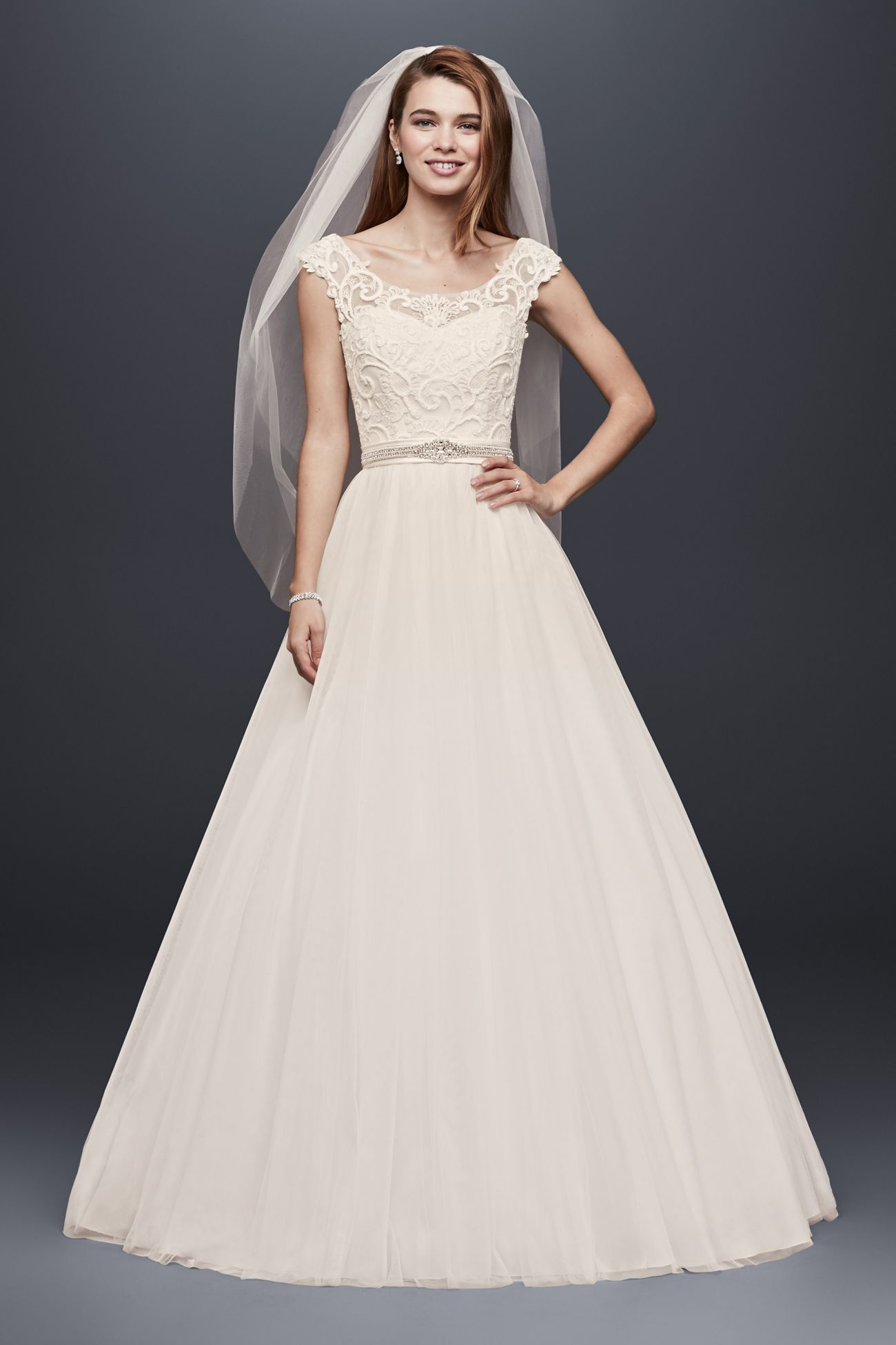 Petite Tulle Ball Gown With Lace Illusion Neckline David S Bridal Wedding Dress Necklines Petite Wedding Dress Davids Bridal Wedding Dresses