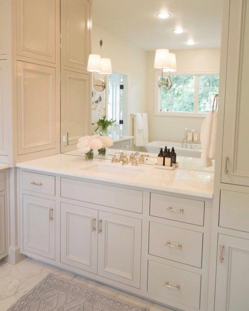 Neutral And Very Pretty Vanity Area Bathroomcabinetsorganization In 2020 Beautiful Bathroom Cabinets Bathroom Remodel Master Mold In Bathroom