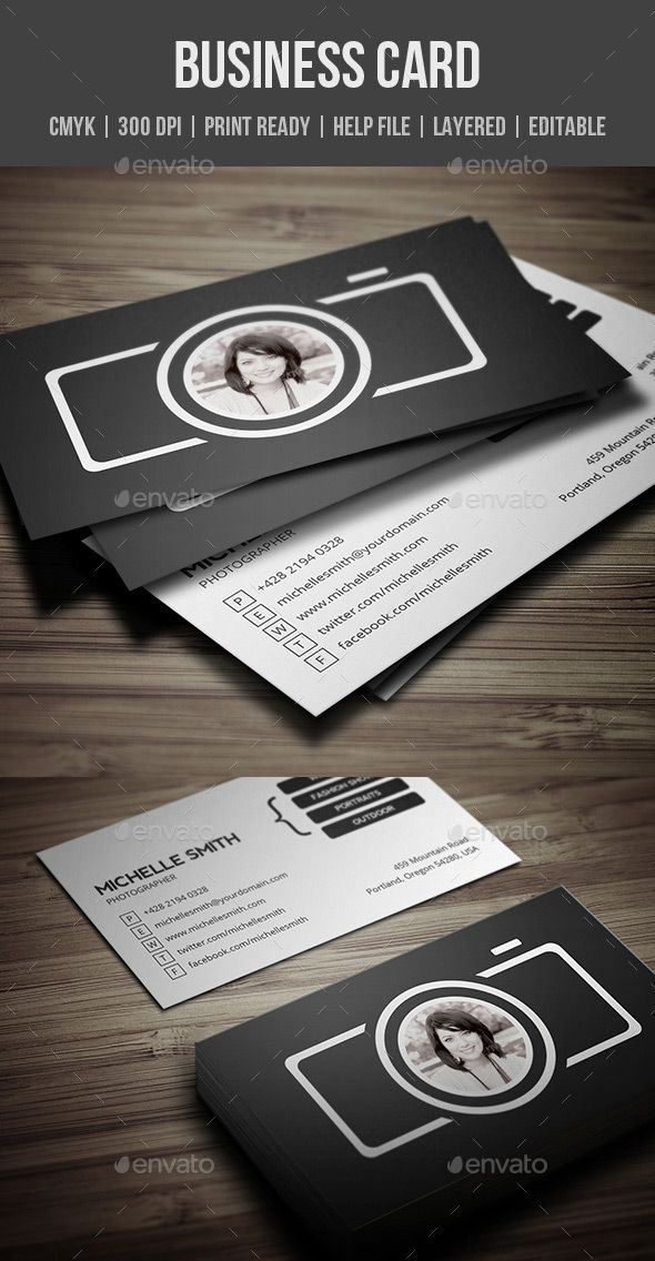 Photography Back Of Business Card Template  In Design Layout
