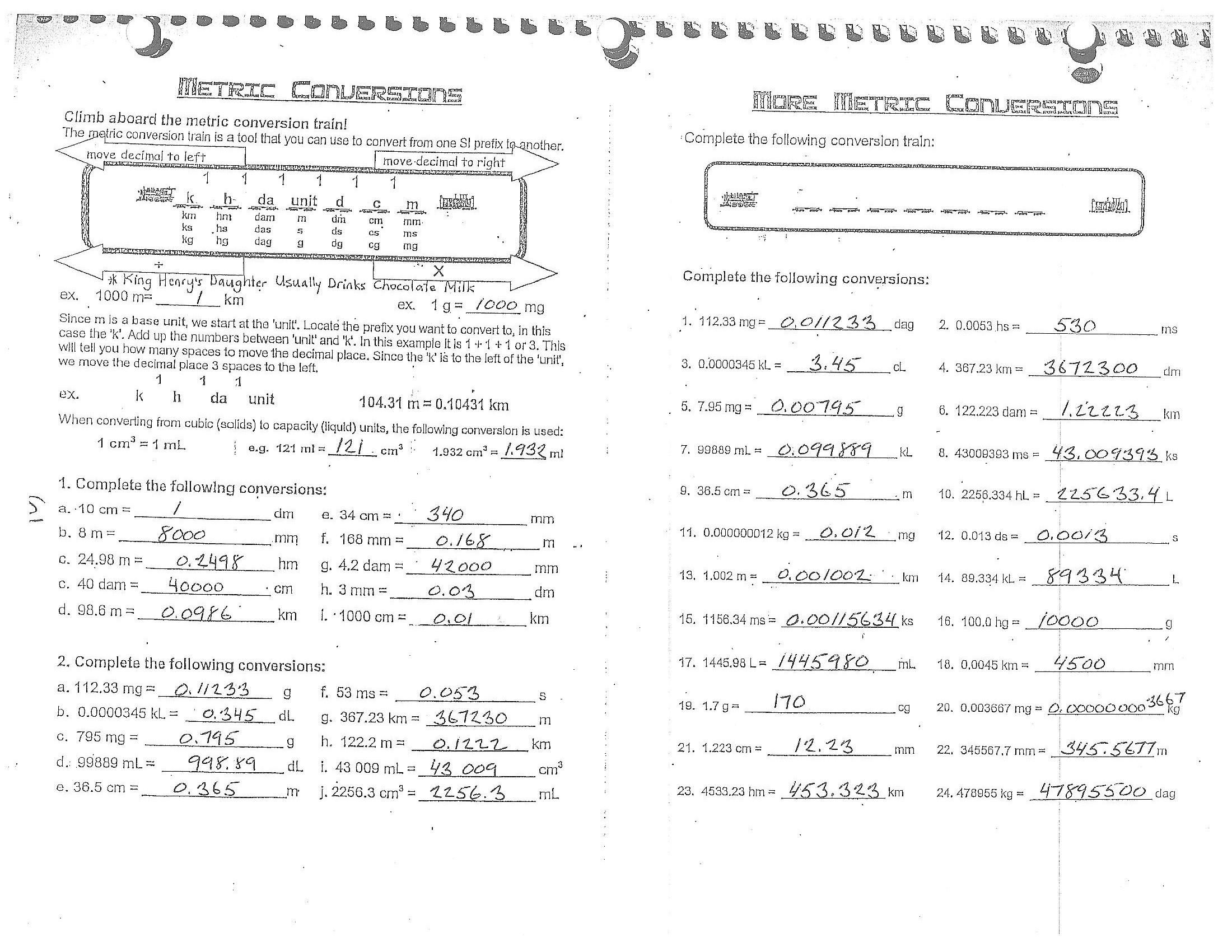 42 Math Conversion Worksheets For Grade 7 In