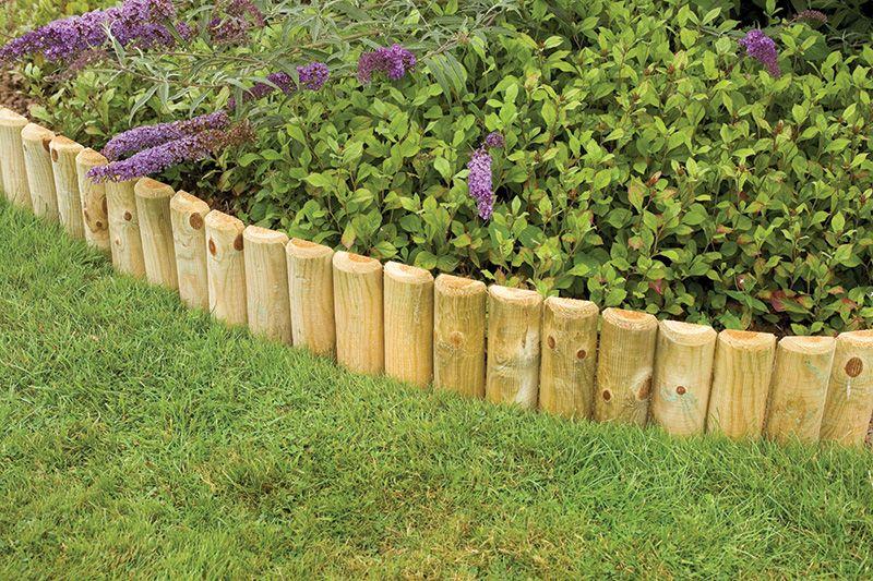 Forest garden log roll this half round log edging comes for Log garden edging