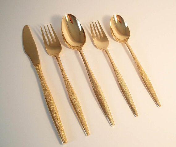 """Gold Electroplate 7 5//8/"""" Tablespoon Lot of 4 Florentine FLR1 Flatware 24 Kt"""