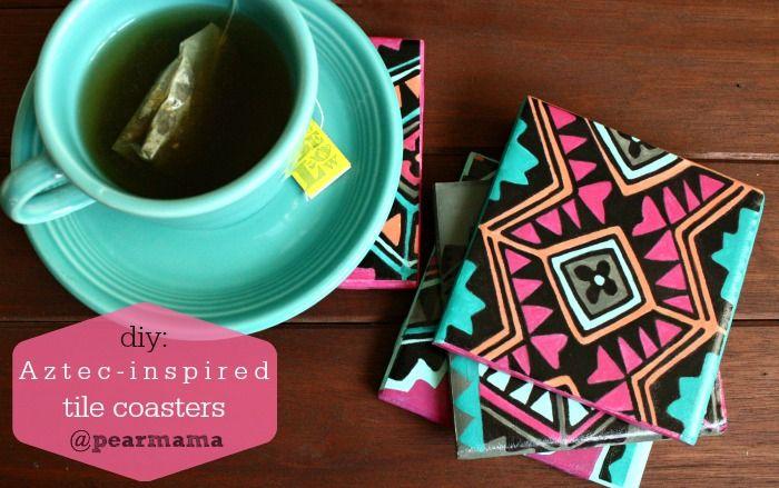 Pearmama: Easy gift idea: DIY Aztec-inspired tile coasters