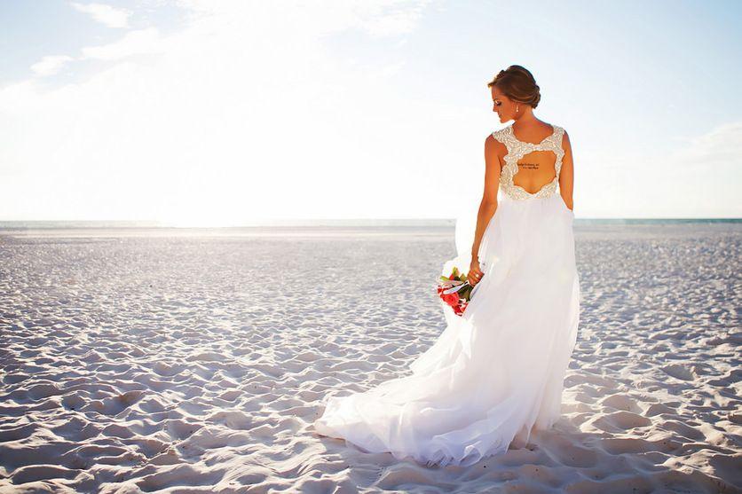 Clearwater Beach, Waterfront Bridal Wedding Portrait in Ivory, Hayley Paige Wedding Dress | Clearwater Beach Wedding Photographer: Limelight Photography