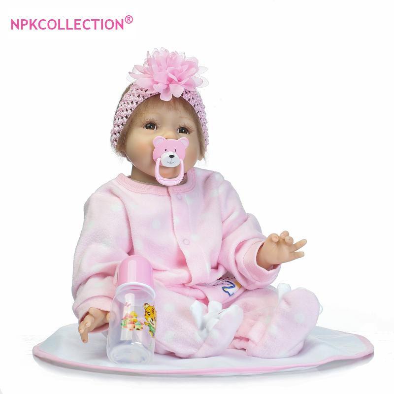 NPK Reborn Baby Doll Soft Simulation Silicone Girl Toy 22 inch  55cm Pink Flower