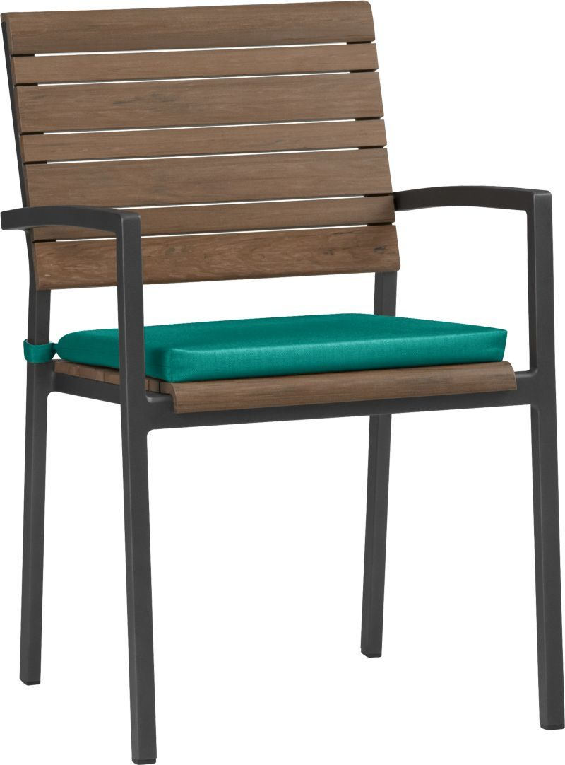 Rocha dining chair with sunbrella harbor blue cushion from crate barrel