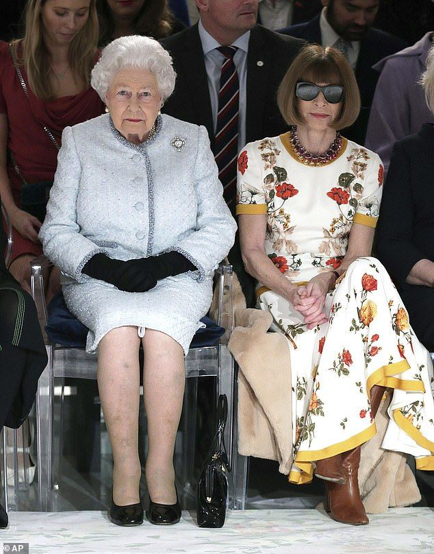 Her Majesty, pictured with Anna Wintour at London Fashion Week in February 2018, has decades of public duty under her belt and is surprisingly the most relaxed in her posture