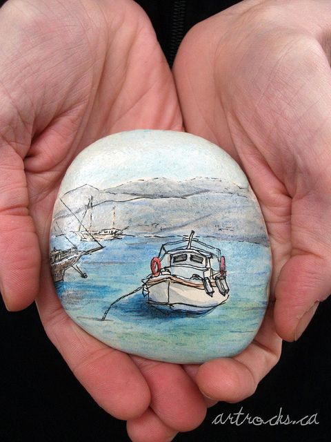 Antiparos Inspired Stone2 on Etsy by ArtRocks by Karen Fuhr