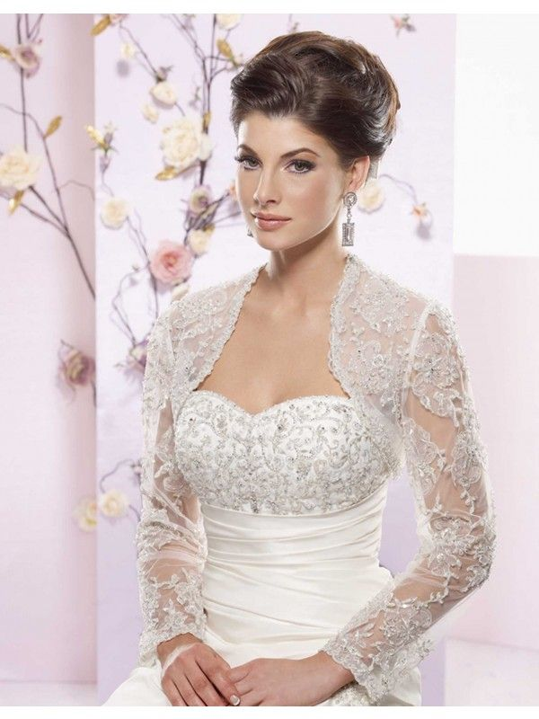 Long sleeve wedding bolero tailor made long sleeves for Wedding dress lace bolero