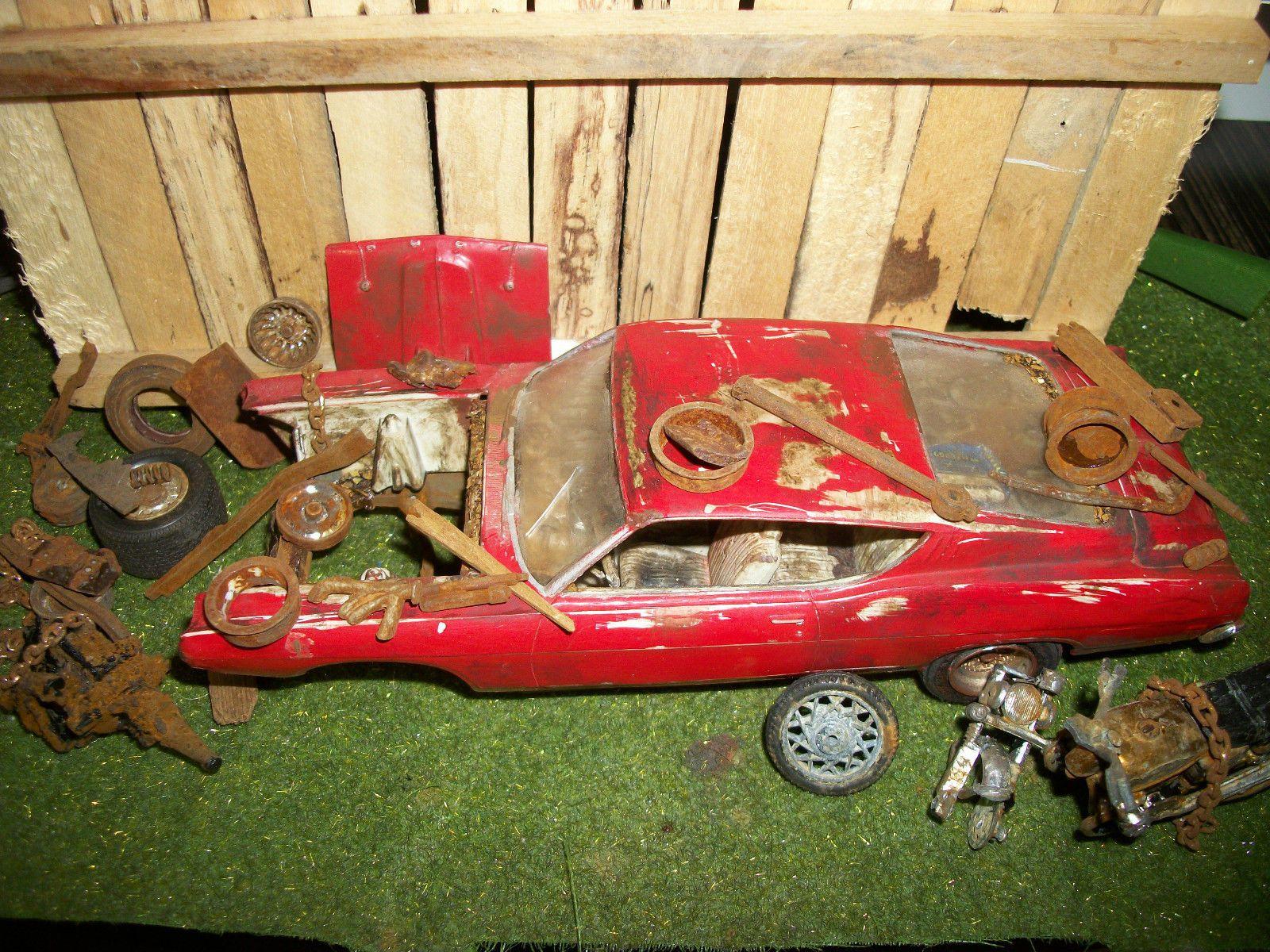 Junkyard diorama automotive parts 1969 ford cobra torino plastic parts ebay